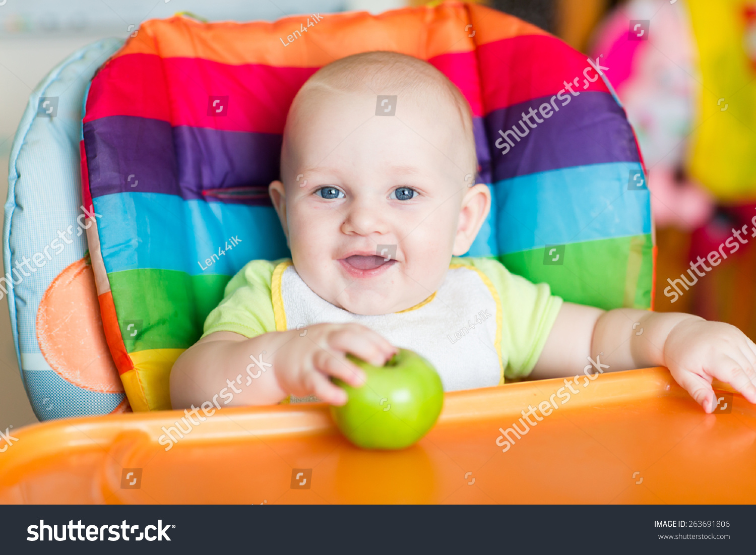 Baby Food Chair Adorable Baby Eating Apple High Chair Stock Photo