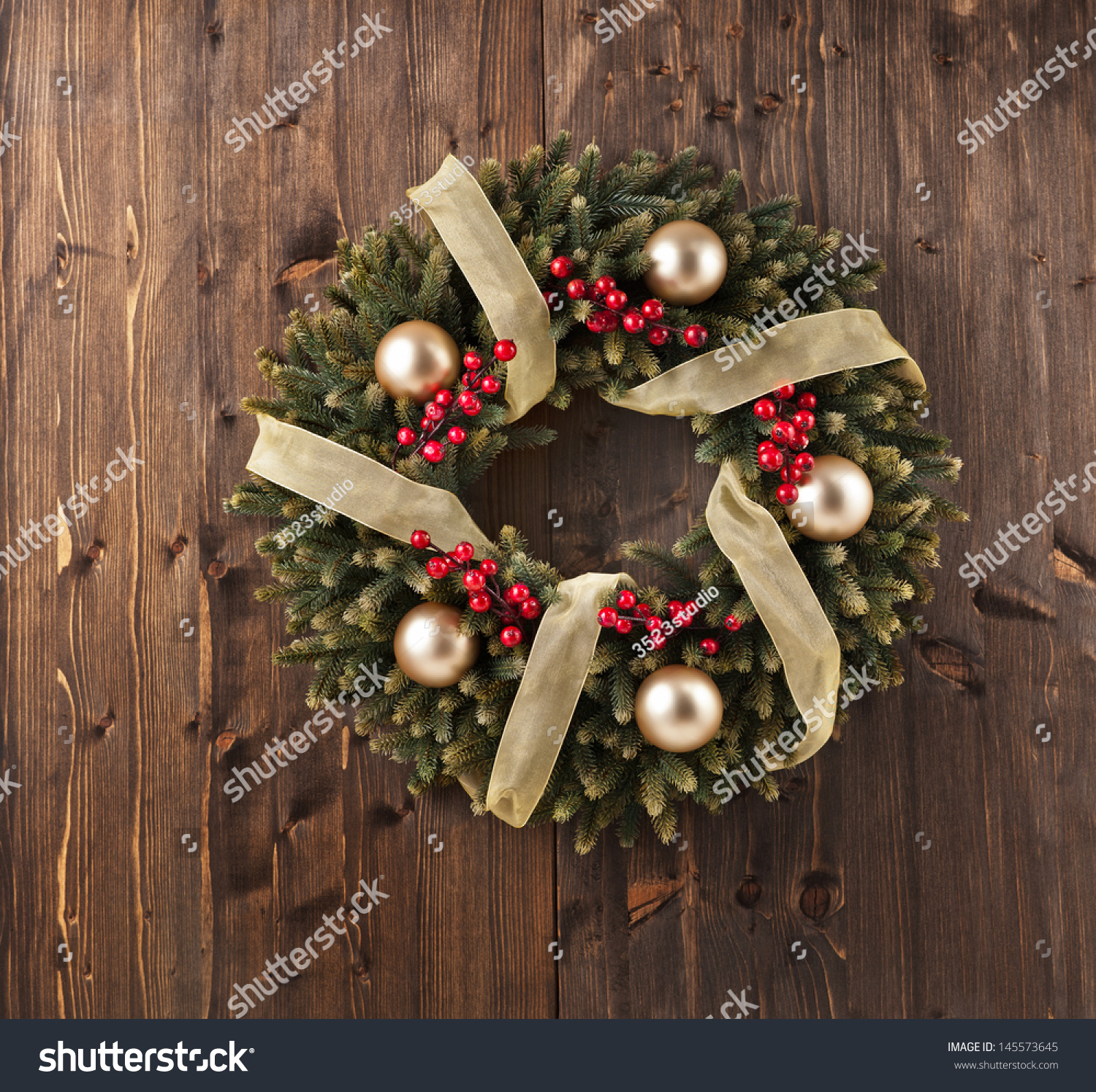 Advent Christmas Wreath On Wooden Door Decoration Stock
