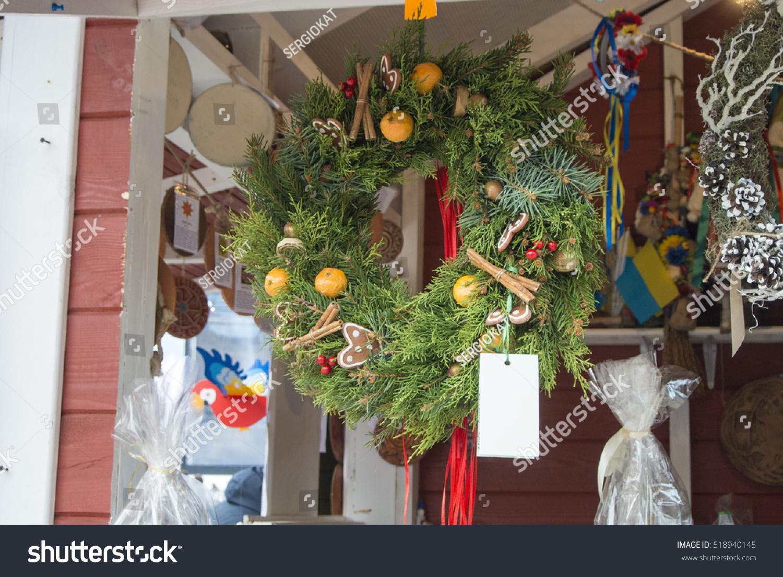 Advent Christmas Wreath On Wooden Door Stock Photo