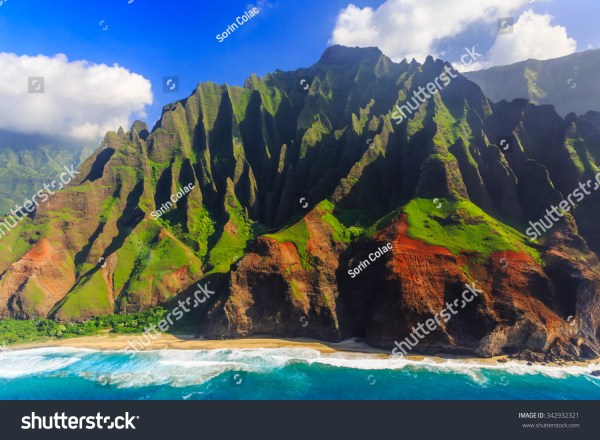 Aerial View Spectacular Na Pali Coast Stock