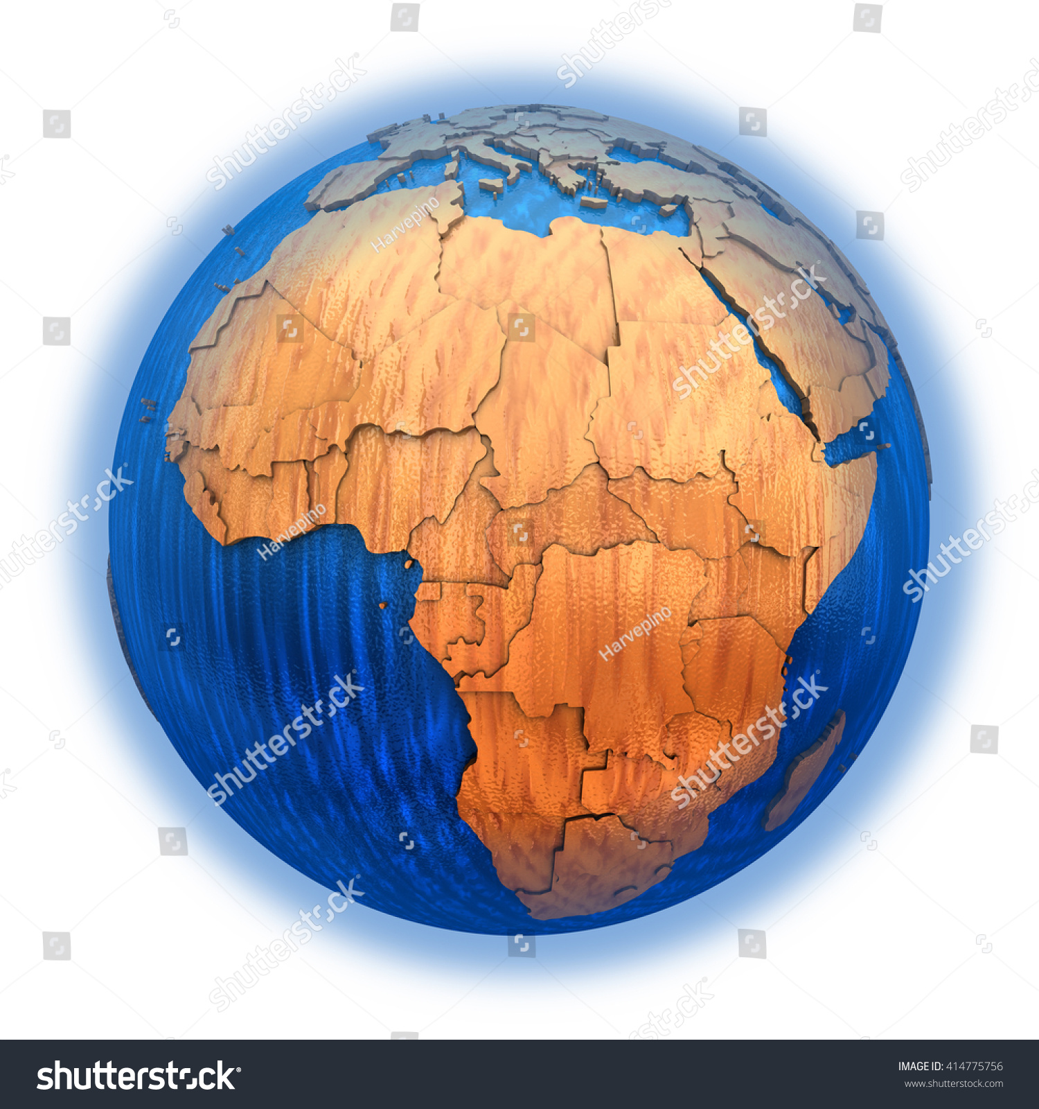hight resolution of africa on wooden model of planet earth with embossed continents and visible country borders 3d