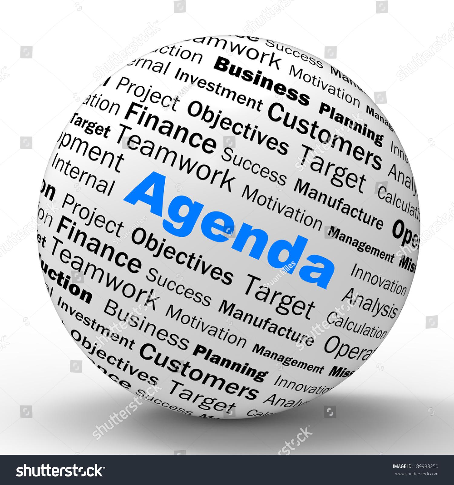 Agenda Sphere Definition Meaning Schedule Planner Arrangement Or Reminder Stock Photo 189988250 : Shutterstock