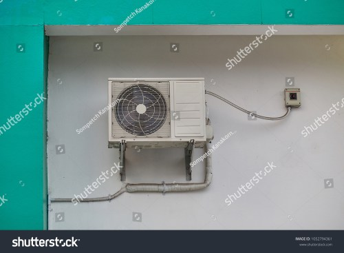 small resolution of air condensing unit and ac disconnect box installed on wall outdoor