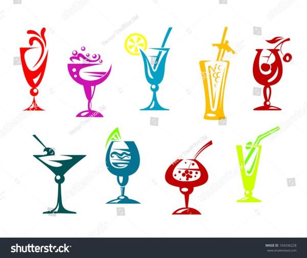 Alcohol And Juice Cocktails Set Beverages Design