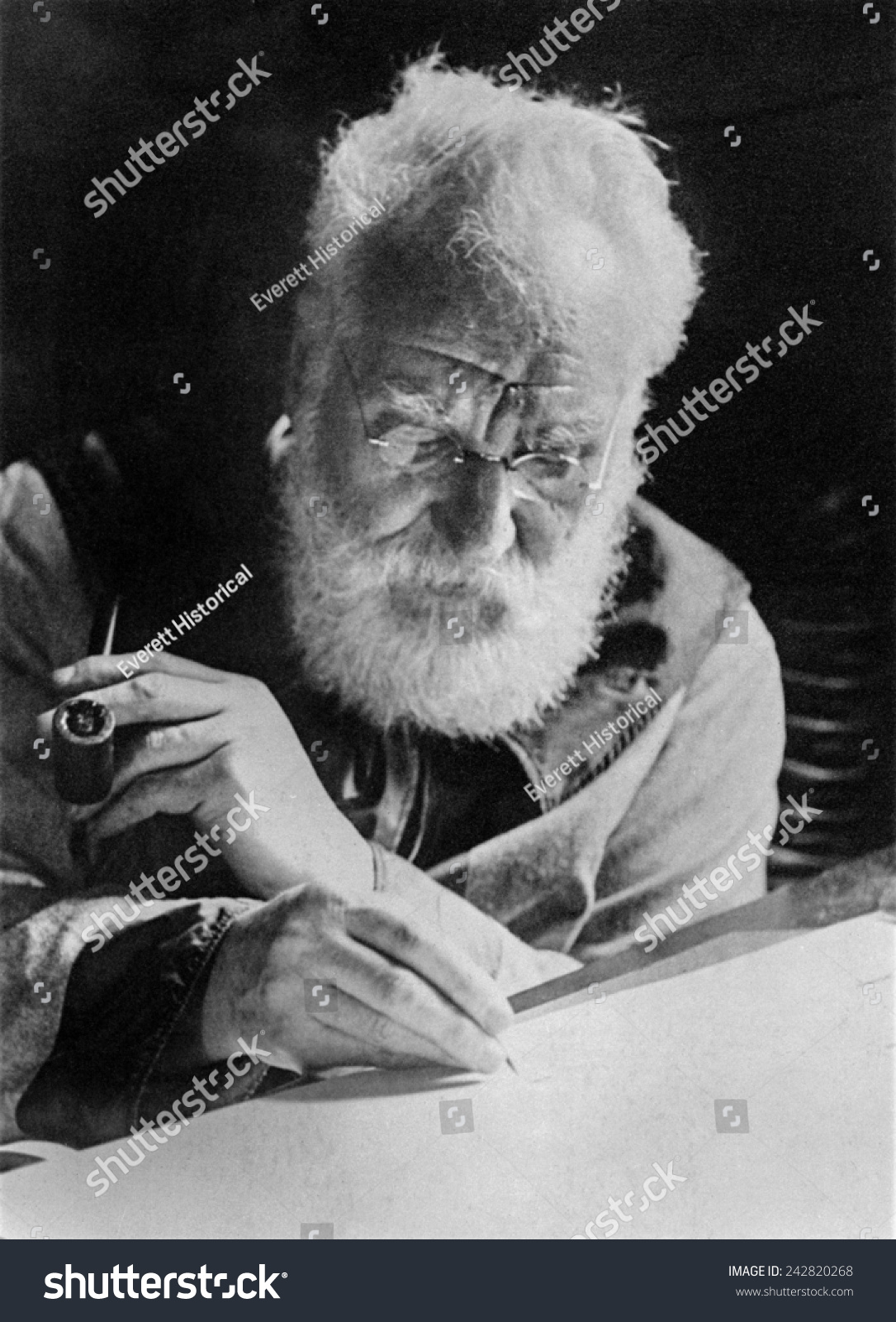Alexander Graham Bell Writing His Stock Photo