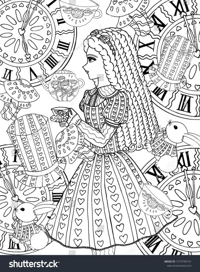 Alice Wonderland Coloring Page Adults Stock Illustration 25