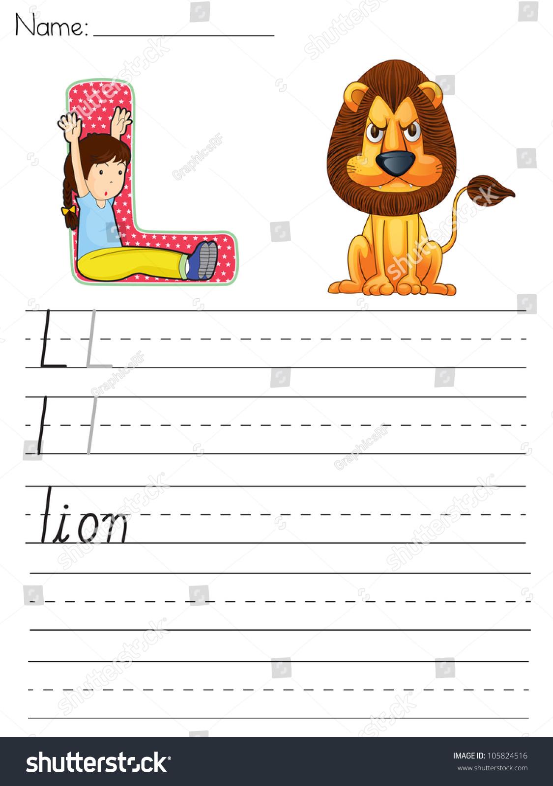 Alphabet Worksheet Letter L Stock Illustration