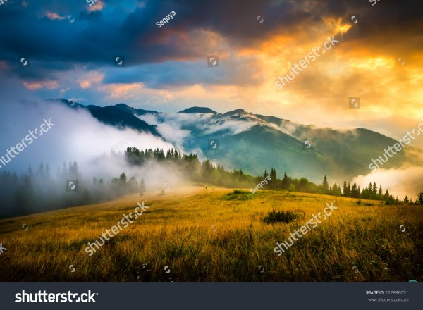 Amazing Mountain Landscape With Fog And Haystack Stock 222886051 Shutterstock