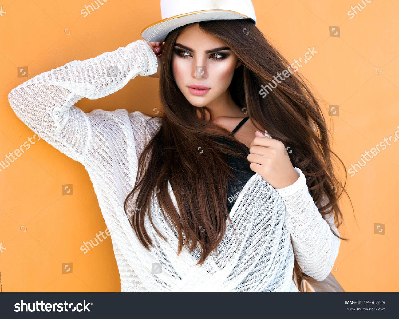 Amazing Teen Girl Posing That Street Stock Photo 489562429
