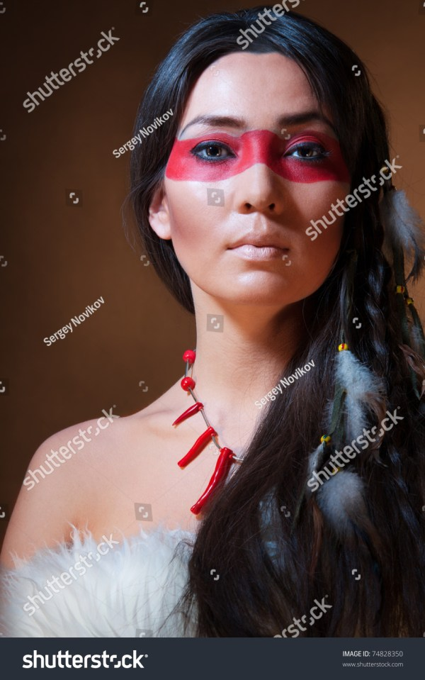 American Indian With Paint Face Camouflage - Studio Professional Makeup 74828350