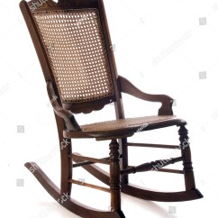 Where Can I Buy Cane For Chairs Fisher Price Ez Clean High Chair An Antique Rocking Isolated On White Stock