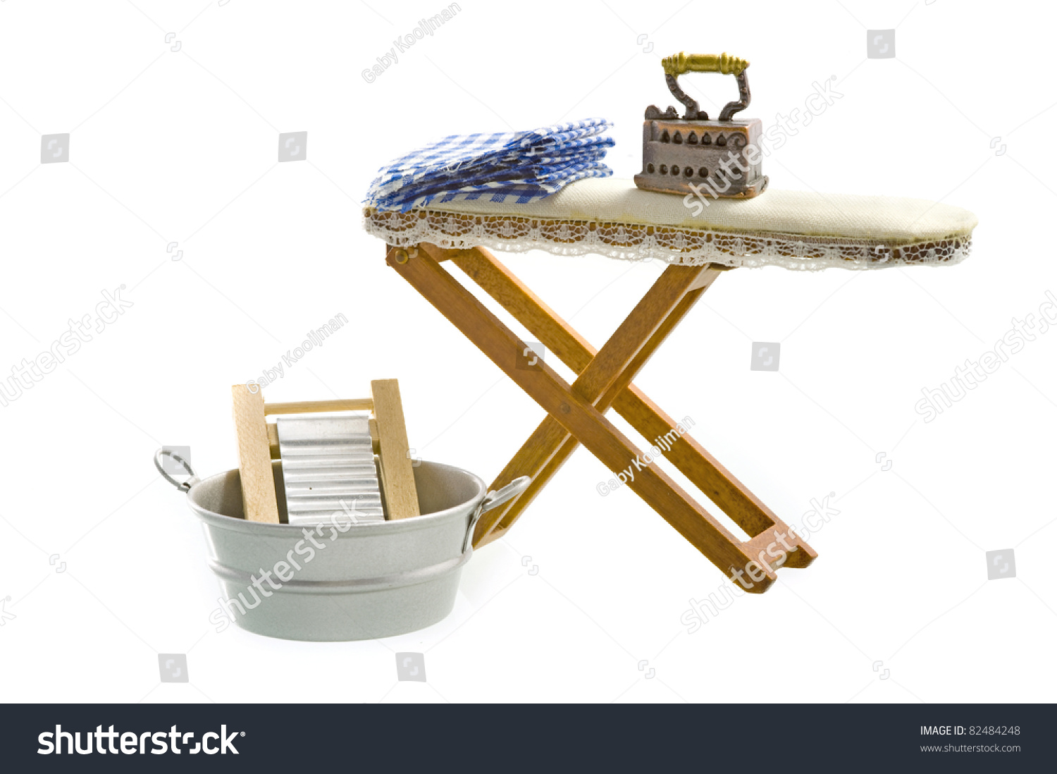 chair step stool ironing board quality office chairs old fashioned iron stock photo 82484248