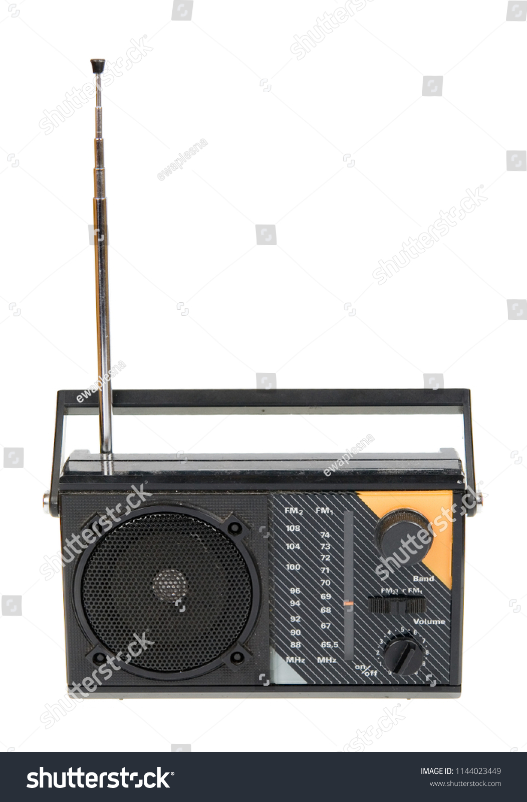 hight resolution of an old radio isolated on white background