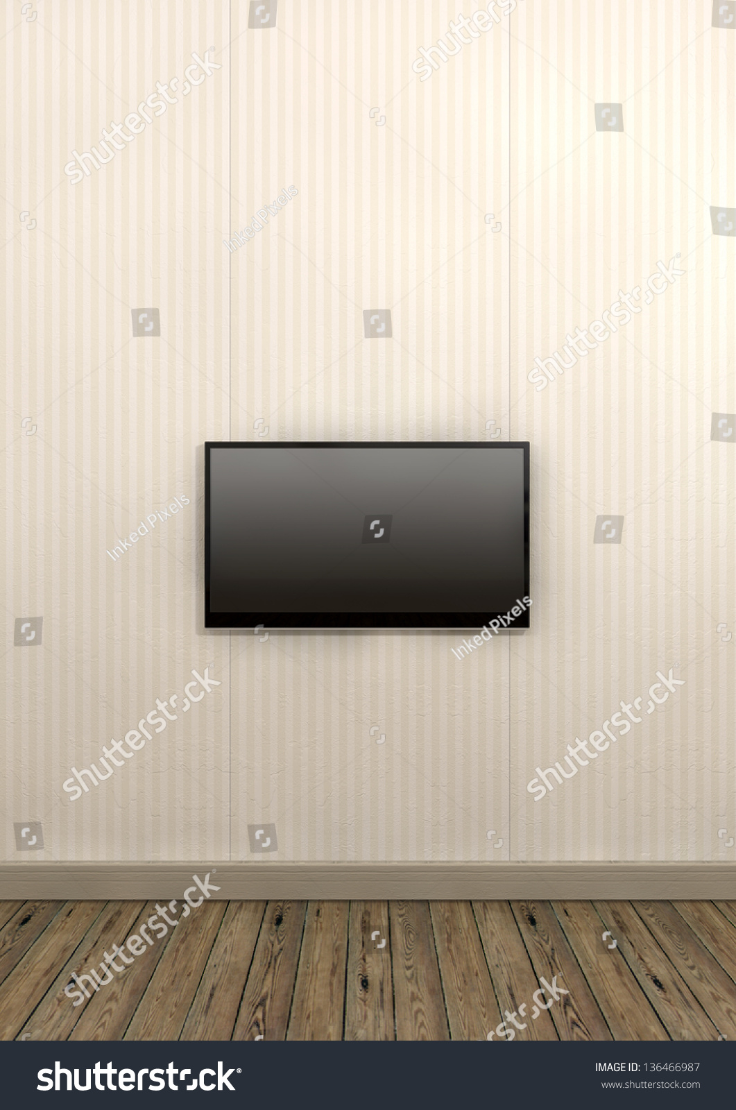 An Old Styled Striped Wallpapered Wall With Brown Skirting And Wooden Floors With A Modern Lcd Television Mounted On The Wall Stock Photo ...