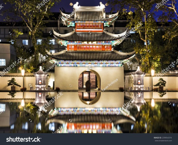 Ancient Confucius Temple In Chinese City Nanjing Illuminated Sunset With Reflection Of