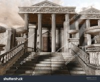 Ancient Greek Temple Stairs Columns Stock Illustration ...