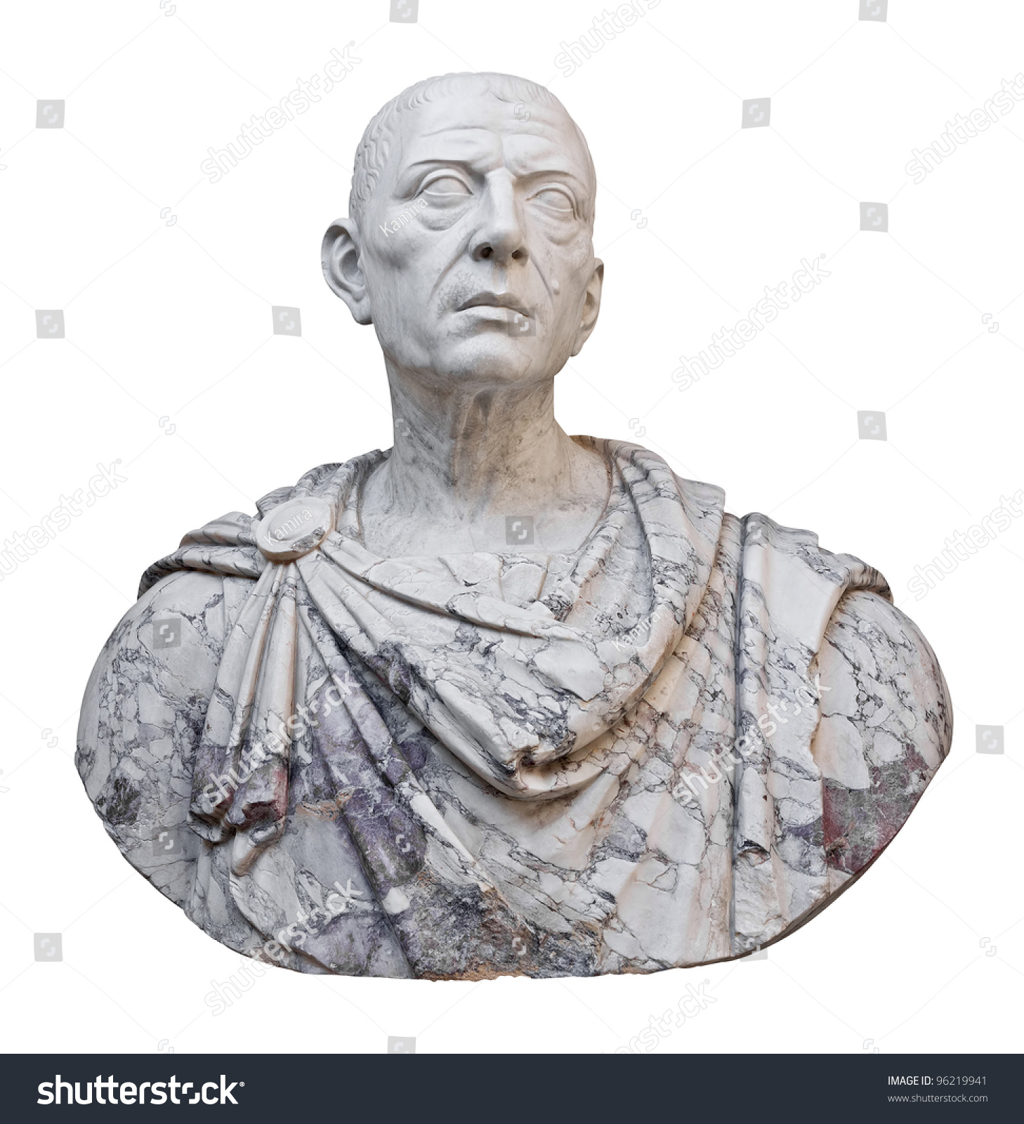 Ancient Mable Statue Of The Roman Emperor Julius Caesar Isolated On A White Background With