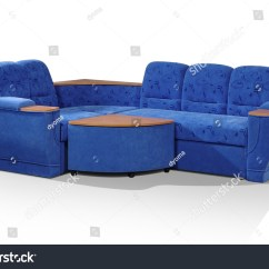Sofa Blue Color 4 Piece Sectional Microfiber Angular Of Dark With The Padded Stool