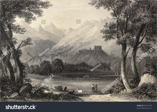 Antique Illustration Shows Landscape In Aosta Valley Italy. Original Created Colonel
