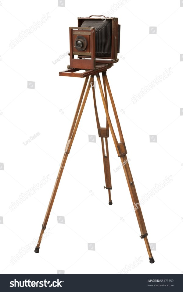 Antique Wood View Camera Tripod Isolated Stock