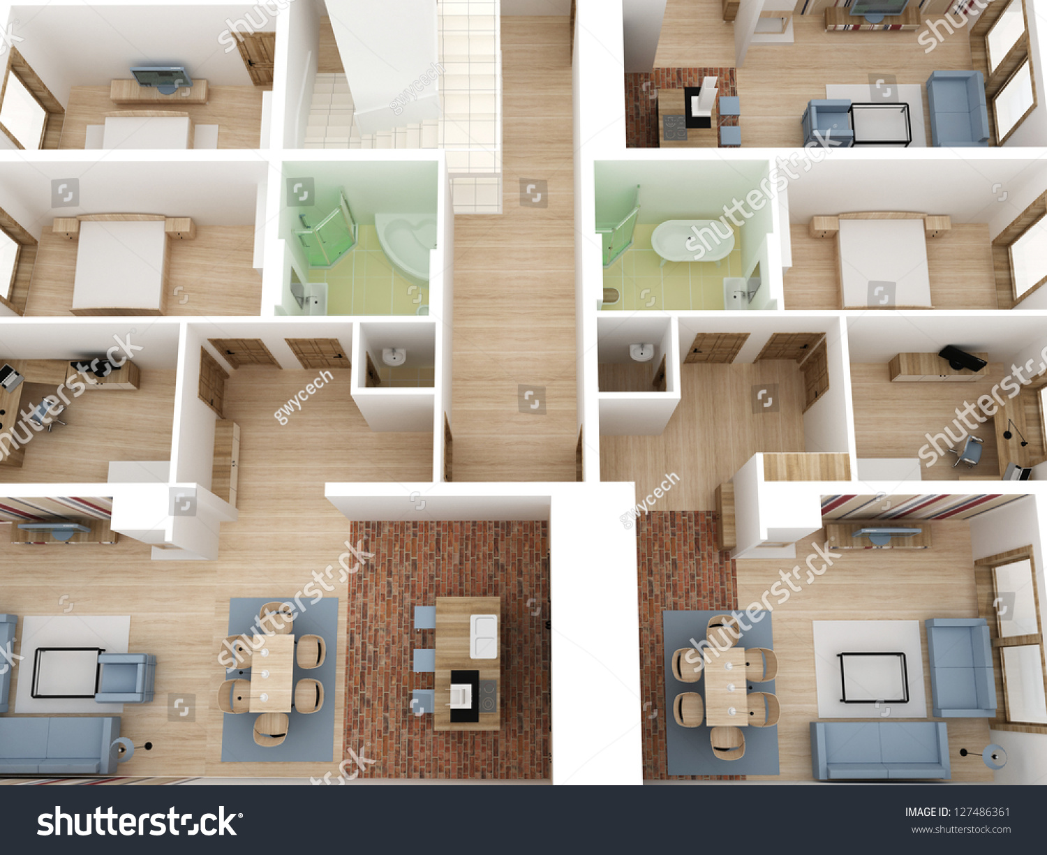 Apartments Level Top View Building Design Stock Illustration