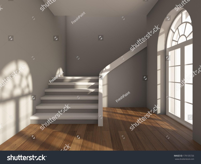 Architectural Design Corridor Staircase Large Window Stock | Window Design For Stairs | Stylish | House Box Window | U Shaped | Big Window | Luxury Window