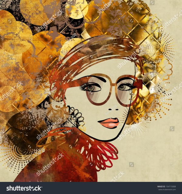 Art Colorful Sketching Of Beautiful Girl Face With Glasses