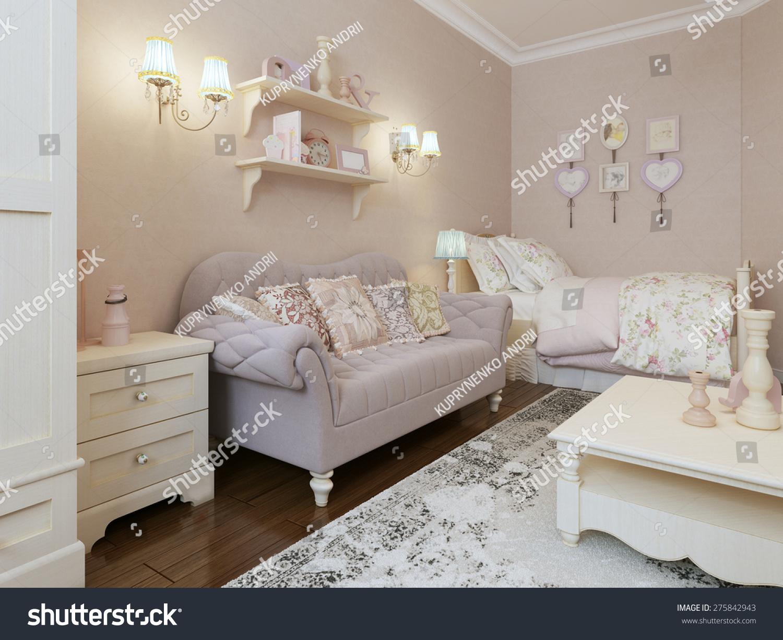 Art Deco Bedroom Style 3d Render Stock Illustration