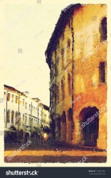 medieval background town european watercolor shutterstock