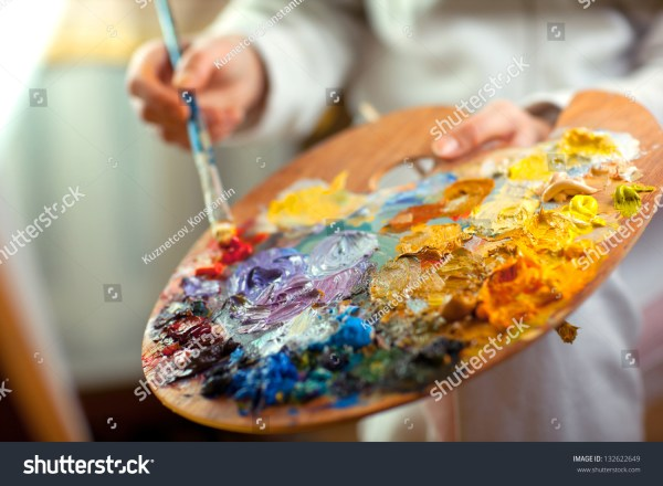 Artist Brush Mix Color Oil Painting Stock 132622649 - Shutterstock
