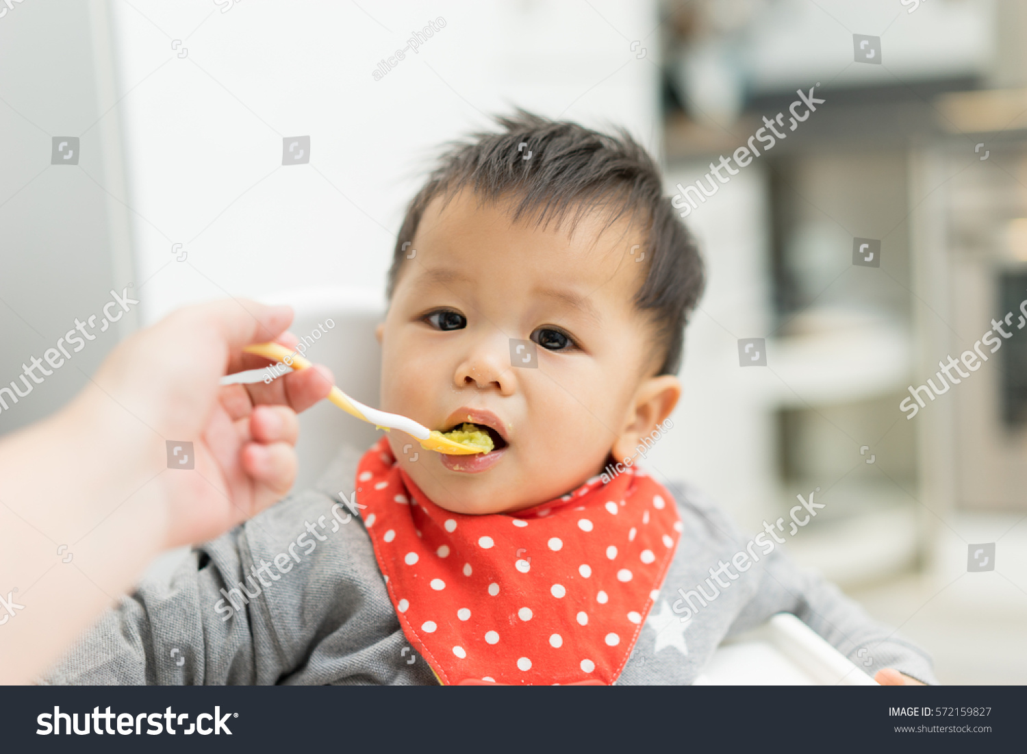 Baby Food Chair Asian Baby Boy Eating Blend Food Stock Photo 572159827