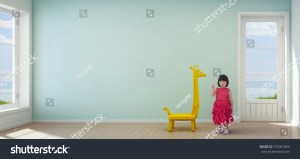 empty background modern child asian shutterstock beach wall turquoise rendering 3d official
