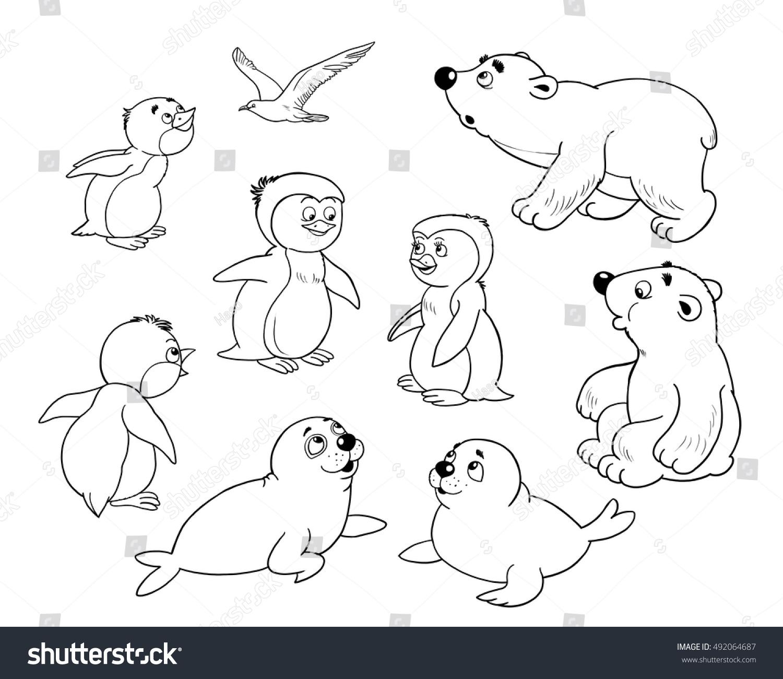 Zoo Arctic Animals Small Set Cute Stock Illustration