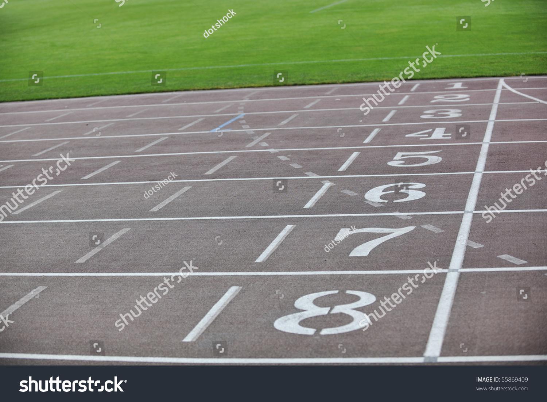 Athletics Race Track Finish Lane On Soccer Stadium Stock Photo 55869409 : Shutterstock