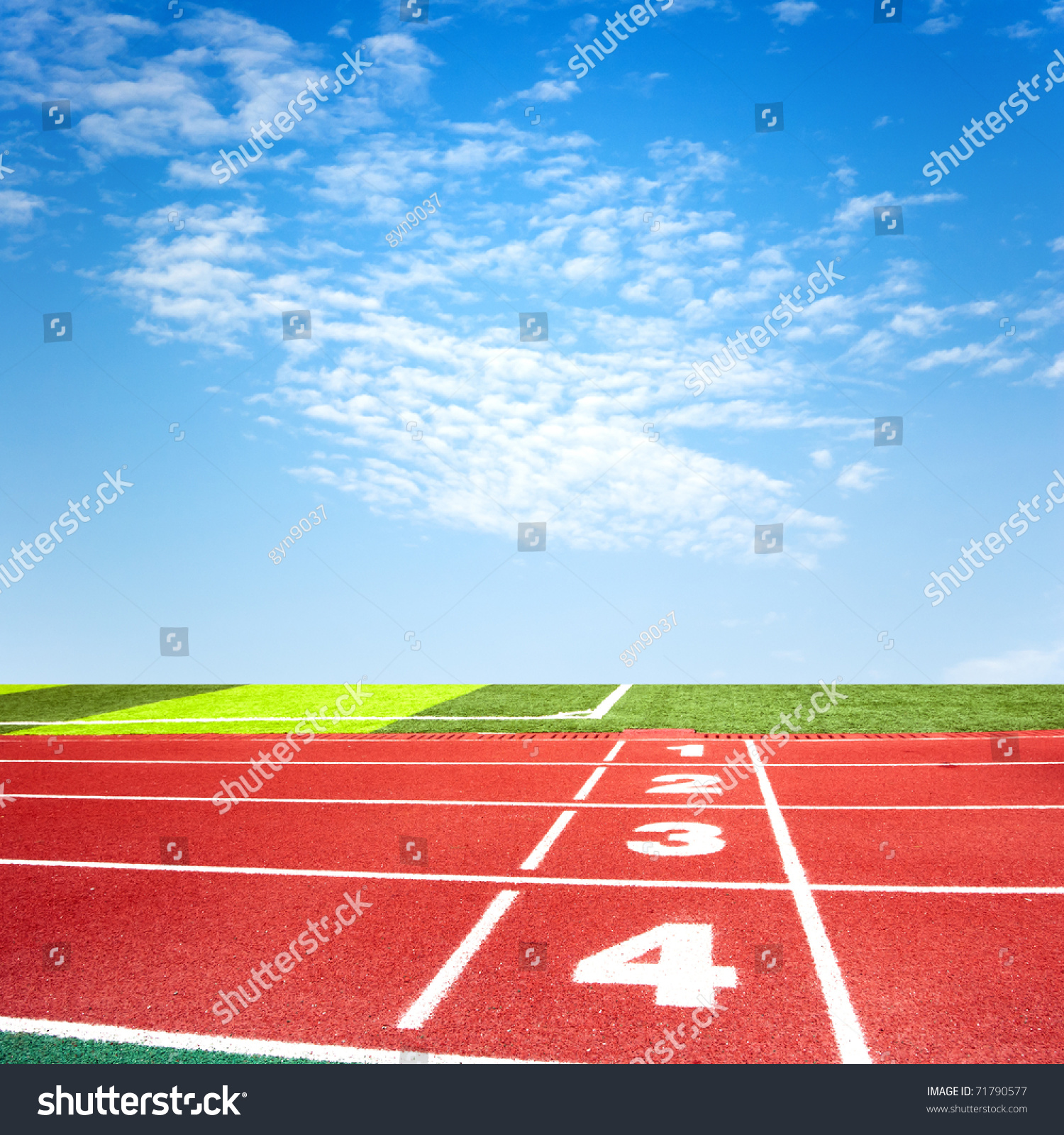 Athletics Track Under Blue Sky Stock Photo 71790577 : Shutterstock