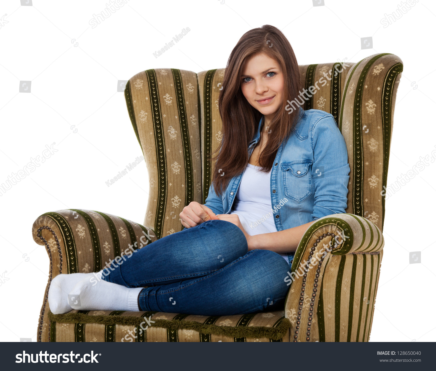 Teen Girl Chairs Attractive Teenage Girl Sitting On Retro Stock Photo