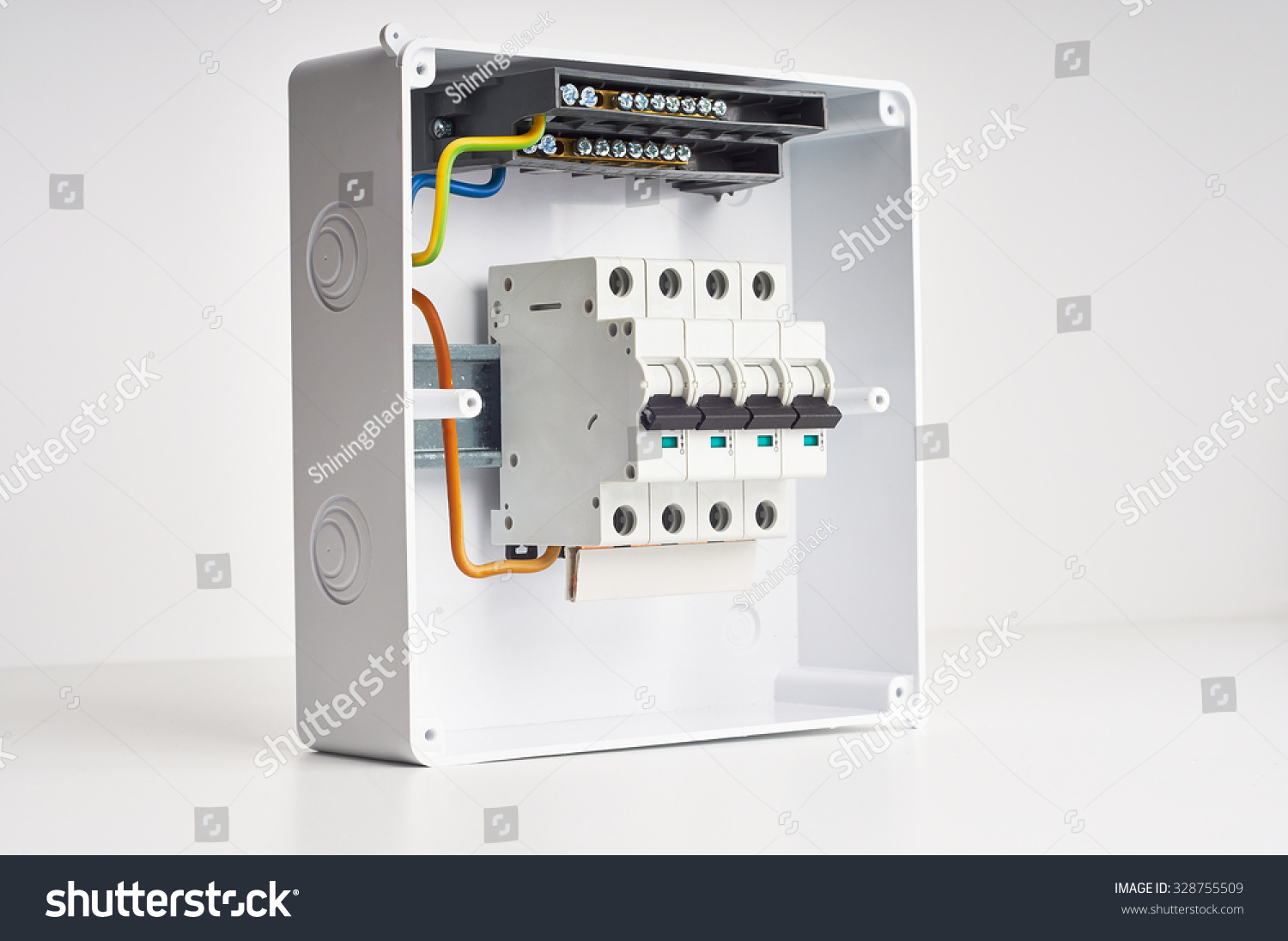 hight resolution of automatic fuses and wires in fusebox electricity distribution box inside