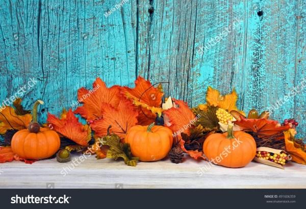autumn leaves pumpkins turquoise