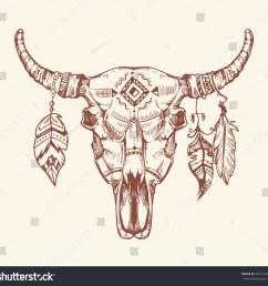 aztec tribal buffalo skull t shirt print tattoo dead animal cow skull totem  [ 1500 x 1450 Pixel ]