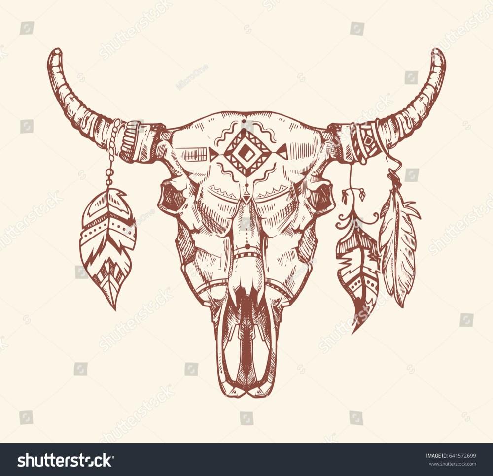 medium resolution of aztec tribal buffalo skull t shirt print tattoo dead animal cow skull totem