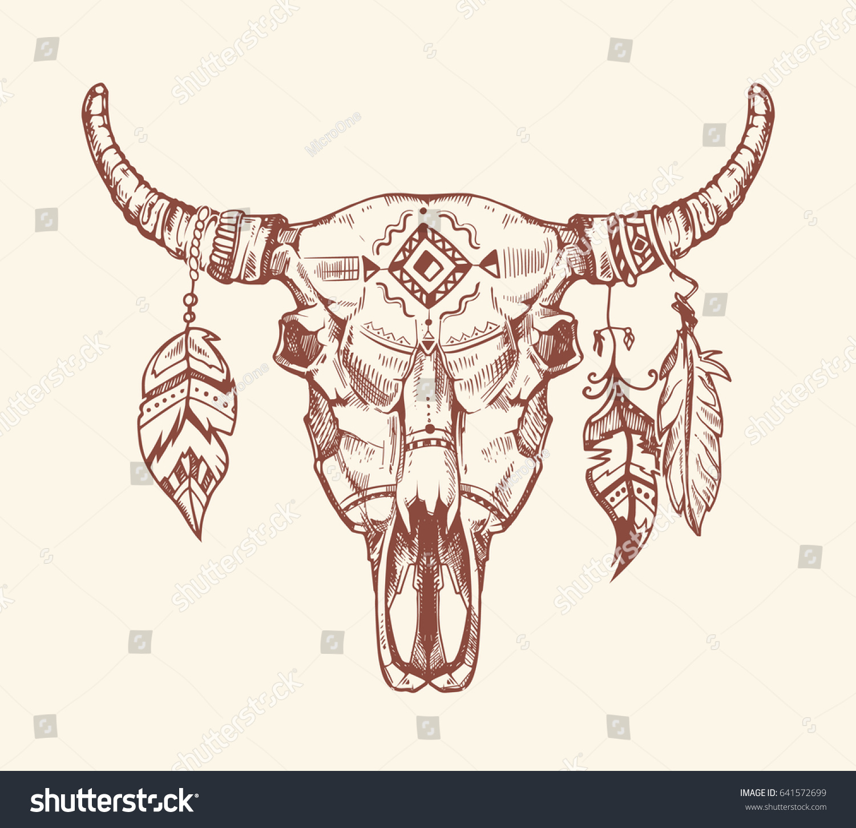 hight resolution of aztec tribal buffalo skull t shirt print tattoo dead animal cow skull totem