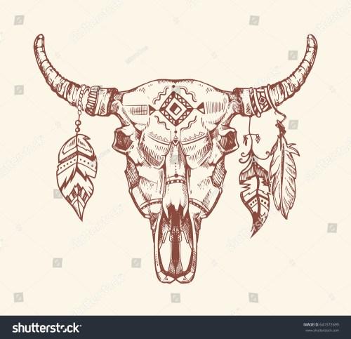 small resolution of aztec tribal buffalo skull t shirt print tattoo dead animal cow skull totem