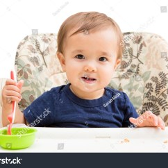 Baby Eating Chair Pink Hair Salon Chairs High Holding Spoon Stock Photo 298521299