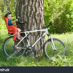The Bike Chair Gray Dining Chairs Baby On Bicycle Stock Photo Edit Now 19868407 Shutterstock In