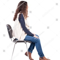 Woman Sitting In Chair Bedroom Chairs Back View Young Beautiful Stock Photo