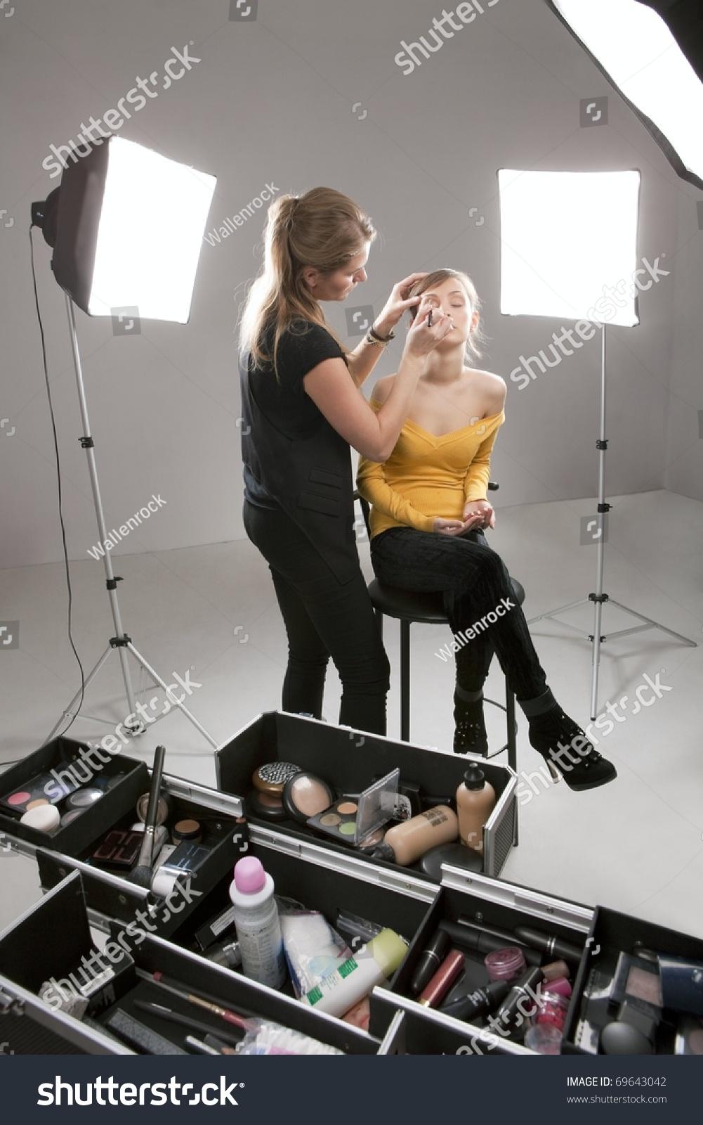 Backstage Scene: Professional Make-Up Artist Doing Glamour Model Makeup At Work Stock Photo 69643042 : Shutterstock