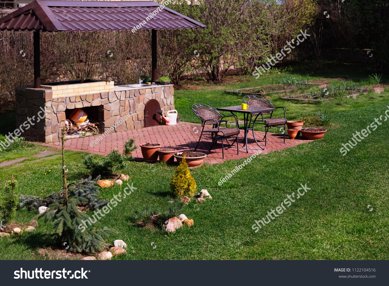 https www shutterstock com image photo backyard patio area fireplace furniture green 1122104516