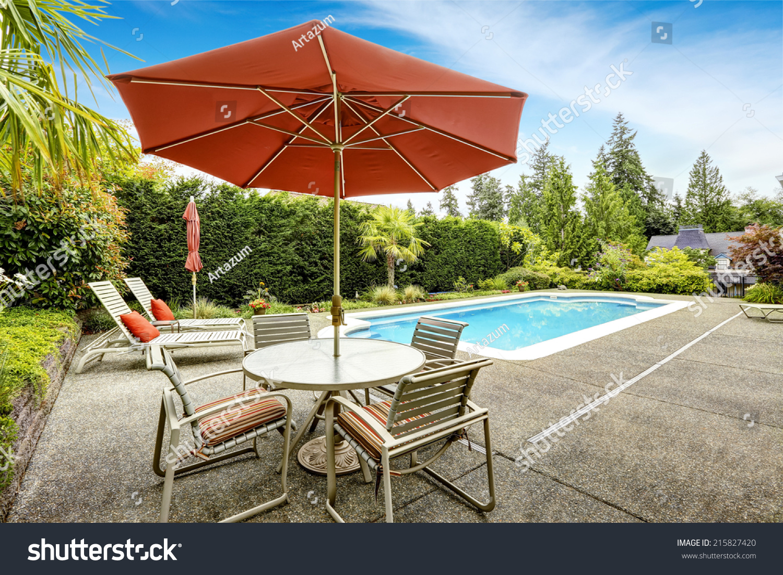 https www shutterstock com image photo backyard swimming pool deck chairs patio 215827420