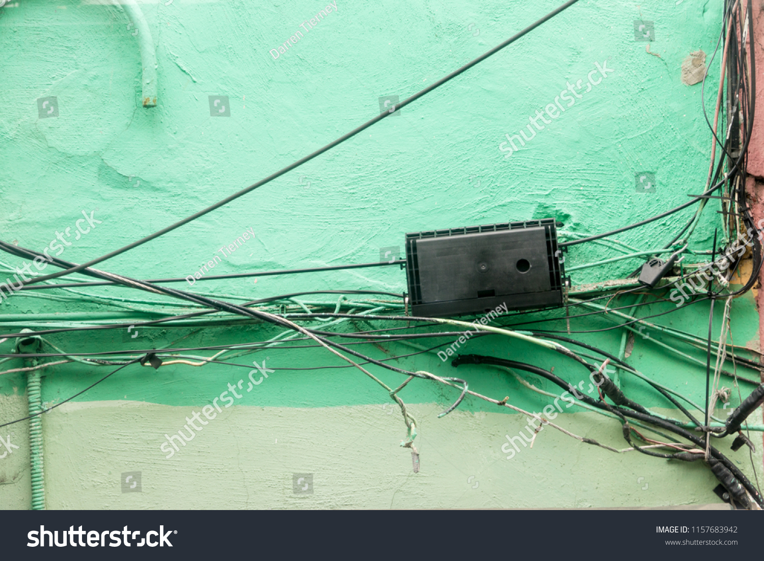 hight resolution of bad electrical wiring which looks messy and dangerous