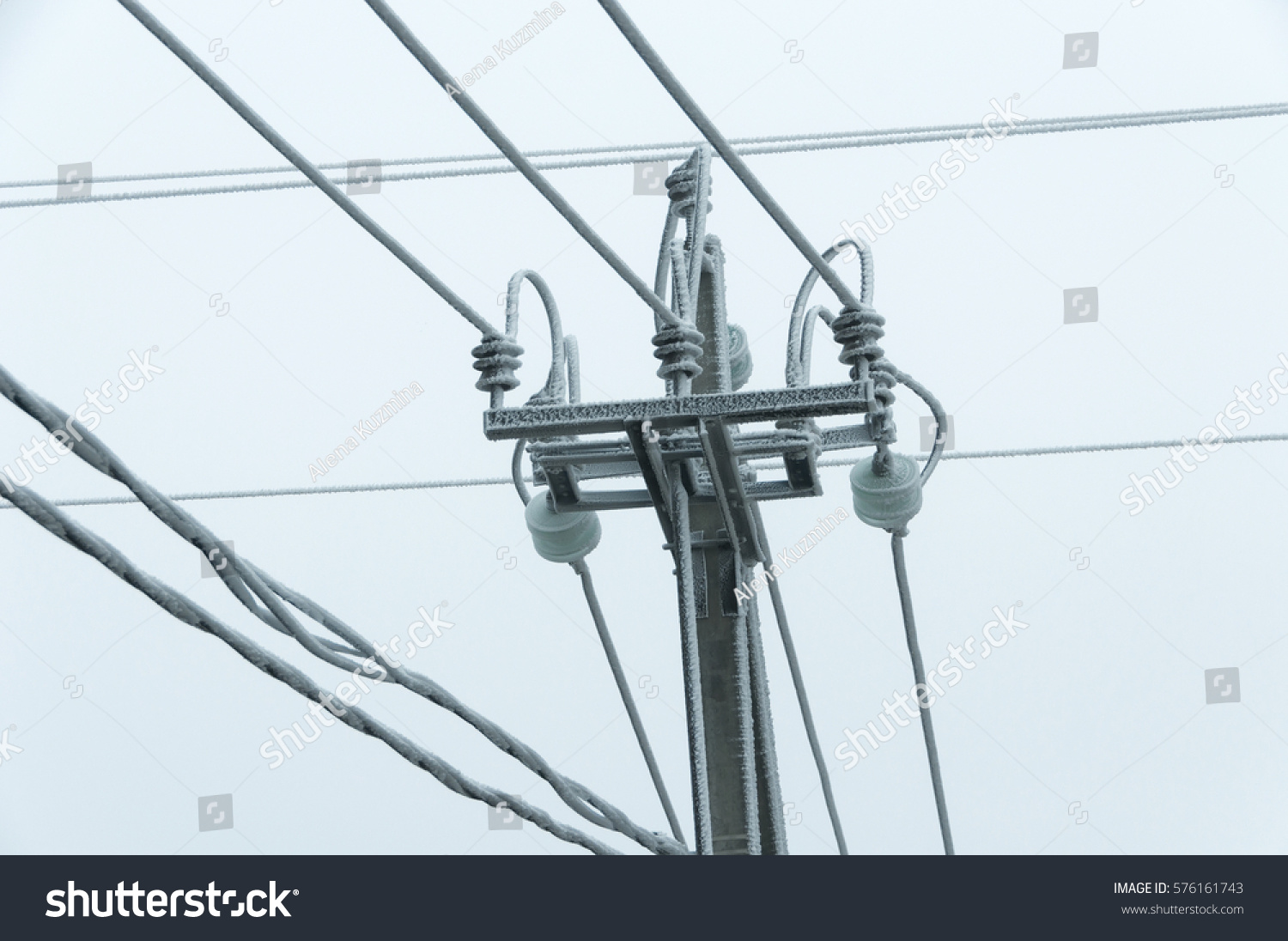 hight resolution of bad weather frost air electric line hoarfrost on the wires poles